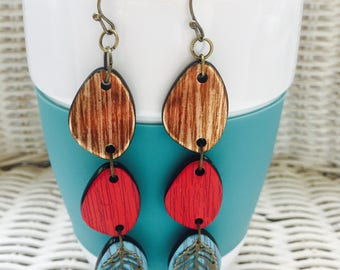 Earrings - Dangle - Colorful Wood Connectors with Antique Bronze Leaves