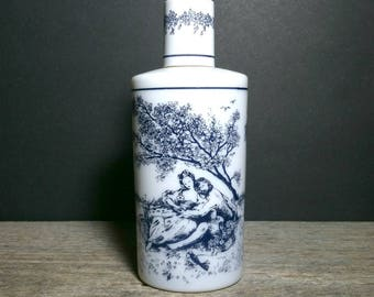 Vintage Tuvache Reverie Milk Glass Bottle with Blue Victorian Romantic Scenes / 1970s Tuvache Reverie Body Lotion Bottle /