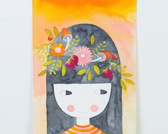 original watercolor painting illustration of a little girl with a crown of flowers