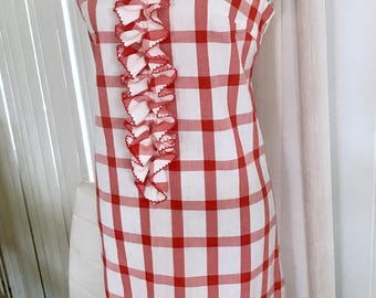 Cutie Pie Red Gingham 1960's Dress with adorable tuxedo ruffle front -- Size L
