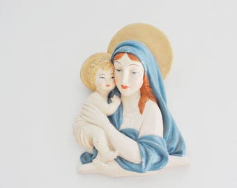Vintage Madonna Virgin Mother Mary and Baby Jesus Pastel Blue Pink Mother and Child Catholic Art Chalkware Chalk Ware Wall Hanging 1950s