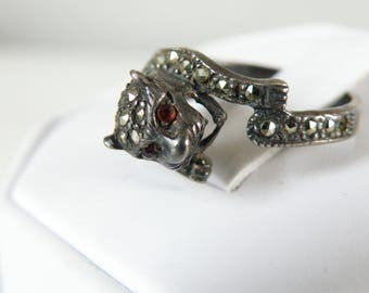 Estate Vintage Sterling Silver 925 Marcasite Panther Tiger Kitty Cat Jaguar Cougar Ring with Ruby Eyes Size 9