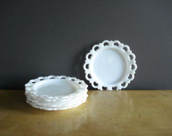 Pretty Little Plate - Small Milkglass Cut Out Plate - Milk Glass Lace Tray - White Milk Glass Plates
