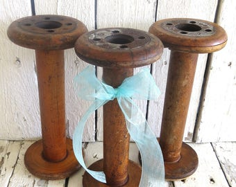 Vintage Sewing Spools, Ribbon Spools, Antique Wooden Bobbins, Industrial Chic, Primitive, Vase, Farmhouse, Seamstress Gift, Organization