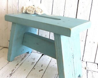 Farmhouse Stool, Step Stool, Aqua Blue Wooden Stool, Vintage Stool, Shabby and Chic, Rustic Decor, Painted Stool, Weathered, Primitive