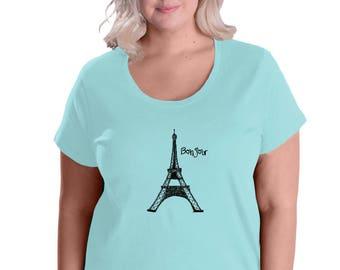 Paris Plus Sized Shirt, Eiffel Tower Tshirt, Short Sleeved Graphic Tee Shirt, Womans World, Bonjour French Language Shirt, Hand Printed Top