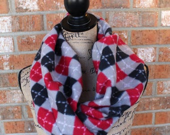 Black, Red, White and Gray Argyle Fleece Infinity Scarf Gift Under 20 Dollars Ready to Ship