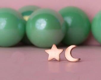 Small 14k solid gold Star Earrings Crescent Moon Earrings Star Stud Moon Stud 18k Rose Gold Everyday Earrings