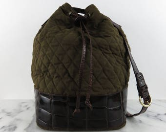 Joan & David Italian Vintage Bucket Bag Quilted Leather Shoulder Purse Olive Green Brown Hard Base