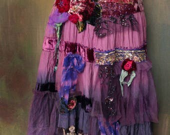 Vintage gypsy  skirt  - -romantic,  gypsy, hippy, shabby chic, layered, hand dyed, altered couture