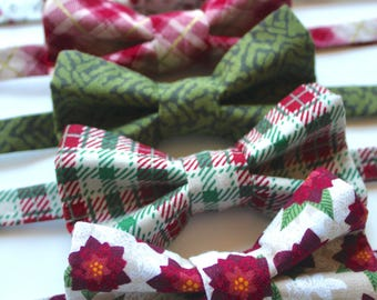 Little and Big Guy BOW TIE - Holiday Winter - Cottage Christmas (Newborn-Adult) - Baby Boy Toddler Teen Man- Red Burgundy Green Gold