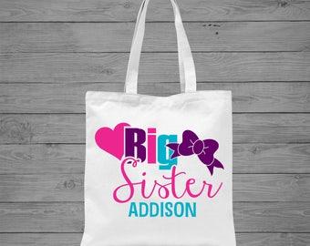 Big Sister Personalized Tote Bag | Big Sister Gift | Sibling Gift | Sibling Announcement Gift  | Girls Tote Bag | Canvas Tote Bag