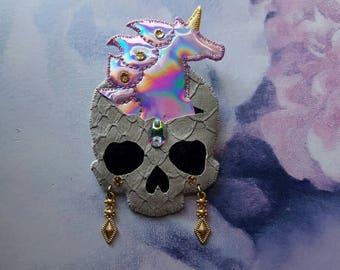 Unicorn Skull brooch