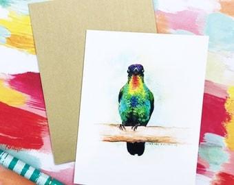Hummingbird Greeting Card, watercolor card