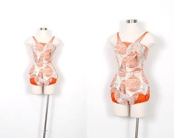 Vintage 1950s Playsuit / 50s Novelty Print One Piece Cotton Swimsuit / Orange and White ( XS extra small )