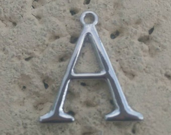 Shiny silver tone Metal Letter A charm pendant, jewelry making