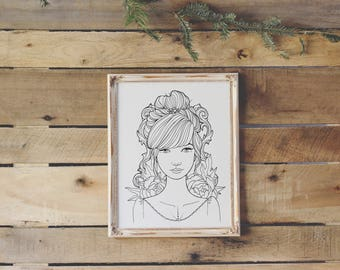Coloring Page Instant Download - Therapeutic activity for adults and teens - Ornate Frame and Peony Girl - Adult Coloring Book