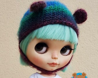 Purple, teal, bear hat for Neo Blythe, pure 100% wool australian