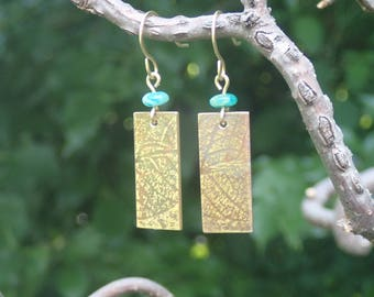 Leaf Textured NuGold with amazonite beads arrings