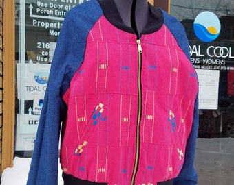African Pink Kente Cloth Reversible Unisex Bomber Jacket