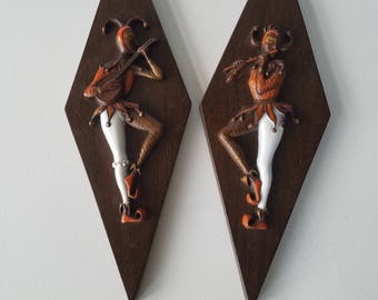 Mid Century Harlequin Wall Plaques