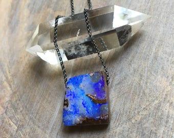 Boulder Opal Necklace, Opal Necklace, Koroit Opal Necklace, Australian Opal, Opal Silver Necklace, Opal Gold Necklace, Pendant, Karina Grace