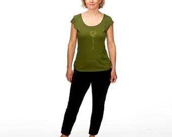 Olive Green t-shirt/Lotus Flower tshirt/Cap Sleeve tee/Screenprinted tshirt/Yoga Wear/American Apparel