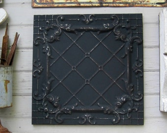 Antique Ceiling Tin Tile. FRAMED 2x2.  Fantastic architectural salvage. Black Metal wall decor. Old pressed tin.