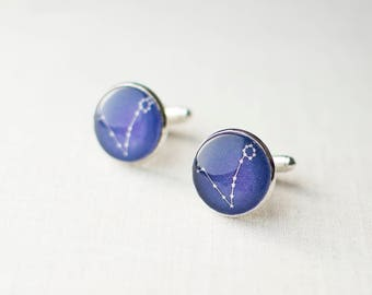 Pisces Cufflinks. Zodiac Cufflinks. Pisces Constellation Cufflinks. Astronomy Cufflinks. Space Cufflinks. Star Map Cufflinks.
