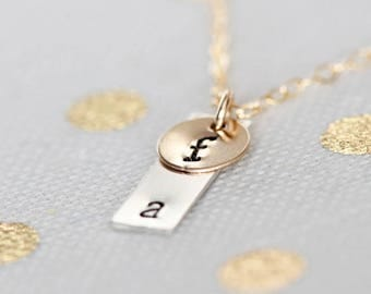 Dainty Initials Necklace, Two Tiny Initials Necklace, Vertical Bar Necklace, Gold Filled Disc, Sterling Silver Vertical Bar