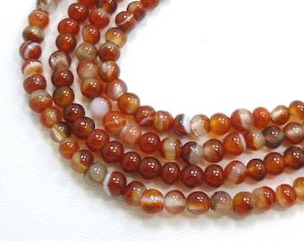 5mm Round Carnelian Semi Precious Stone Beads, Full Strand