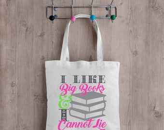 I Like Big Books and I Cannot Lie Tote Bag. Perfect for any book lover!  Great gift idea!