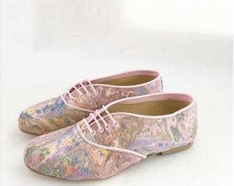 Pony Oxford Vegan Pastels Marbled Fabric (Ready to Ship)