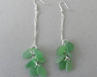 Green Glass Earrings, Sea Glass Jewelry, Sea Glass Earrings, Long Dangle Earrings, Beach Glass Earrings, Dangle Earrings, Drop Earrings