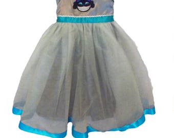 Cheshire Cat Dress: silver and turquoise, blue, tutu dress, easy on and off, halloween costume, birthday party, parks trip, meet & greet