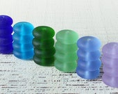 Sea Glass Beads - Sea Glass Rondelle - Cultured Seaglass - Jewelry Making Supply - Frosted Glass Bead - Assortment - 24pc - 12x5mm