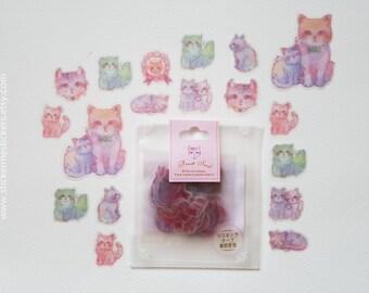 60 PCS, Cat stickers, Cat Lover stickers, Kitten stickers, Cat Lady stickers, Cat Lover, Kamio sticker, Kamio Japan, Sticker Flake