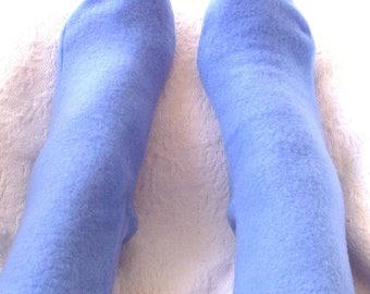 Warm Fleece Socks for Women, Boot Socks, Fleece Bed Socks, Women's Warm Socks, Handmade Gifts under 10.00, Light Blue Fleece Socks