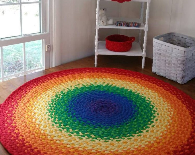"48""  Rainbow Rug made from braided recycled t shirt"