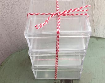 """Small Clear Plastic Boxes, 2-1/2"""" X 2-1/2"""" Square Rigid Plastic Boxes, Set of 3, Small Gift, Miniature, Storage Boxes, Clear Box With Lid"""