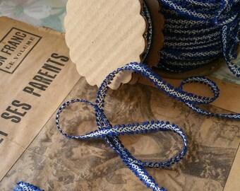Splendid 1930s Picot Cobalt Blue and White 7mm Trim Ribbon Passementerie - 10 Yard Roll