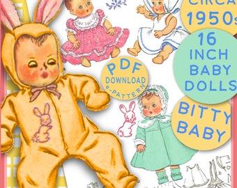 BITTY BABY Baby Doll 16 inch Wardrobe epattern Vintage 1950s Bunny Eared Sleeper, Drees & Coat, Sun Dress 2 Bonnet e pattern Pdf  Download