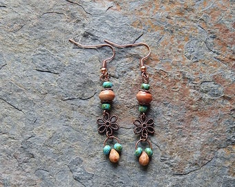 Boho flower earrings - drop earrings - turquoise blue and brown dangle earrings - woodland jewelry - earthy - rustic - inspired by nature
