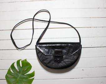Vintage Structured Purse / Mini Leather Purse / Black Leather Purse / Half Moon Purse / Leather Crossbody Purse