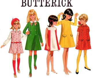 Butterick 5041 Teen Girls A Line Dress with Optional Collar 60s Vintage sewing Pattern Size 12 Breast 30 inches