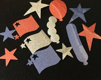 Glitter-Iron-On-Flag Appliques-Silver-Red-Blue-4th Of July-Parade Decorations-Iron-On Vinyl Applique-Costume-Patriotic Balloons-Flags-Stars