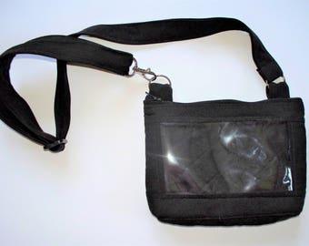 Black Small Purse, Dexcom Insulin Pouch,Insulin Pump,Adjustable Strap, Cross Body Bag,Waist Belt Bag, Shoulder Purse,Clear ID Pocket