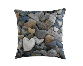 Heart Stone Pillow Cover- Beach Theme Photo Pillowcase, heart rocks, Beach House Decor, rock art, coastal throw pillow, rustic beach bedroom