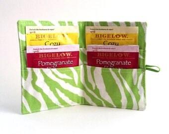 Tea Wallet Tea Bag Holder Lime Green Zebra Print