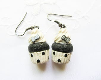Black Polka Dot Cupcake Earrings / Cute Earrings / Food Earrings / Black and White / Cupcake / Polymer Clay / Charm / Earrings
